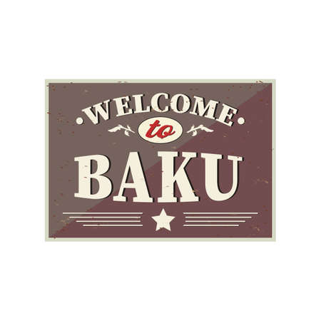Welcome to Baku - Vintage greeting card on a white Background