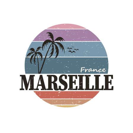 Marseille France Travel Stamp Icon Skyline City Design Tourism