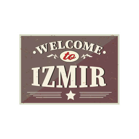 Welcome to Izmir - Vintage greeting card on a white Background