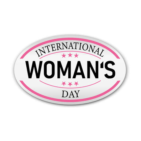 Pink Happy Womens Day sticker paper label badge on a white background