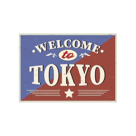 Welcome to tokyo - Vintage greeting card on a white Background