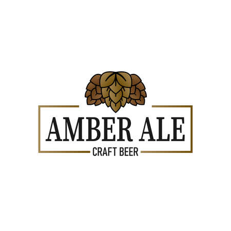 amber ale craft beer lable web badge icon