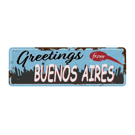 Buenos Aires Argentina retro greeting card rusted metal template. Vintage travel comic style signs set from South America.