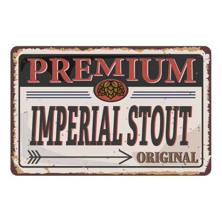 Imperial Stout Retro beer vector poster. Vintage label or banner design