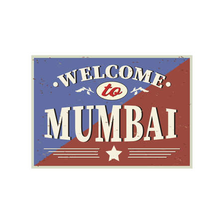 Welcome to Mumbai India - Vintage greeting card on a white Background Ilustrace