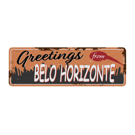 Belo Horizonte brazil retro greeting card rusted metal template. Vintage travel comic style signs set from South America. Иллюстрация