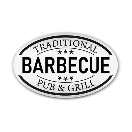 Vintage Retro Barbecue Traditional Style Seal on a white Background