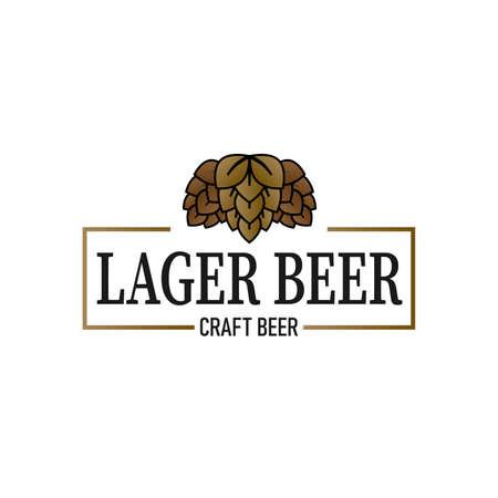 Retro lager beer vector poster. Vintage label or banner design on a white background