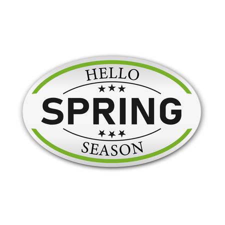 Hello Spring lettered logotype, badge typography icon, banner. Ilustração