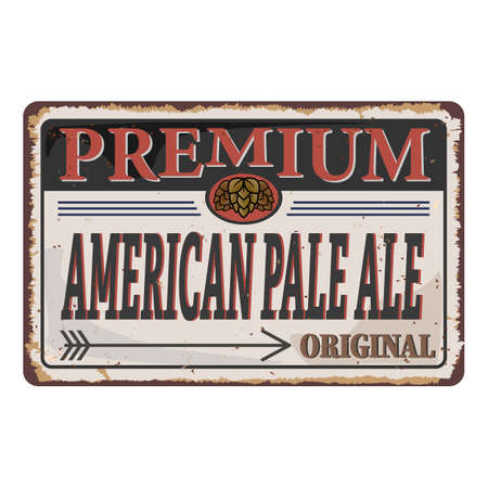 Vintage Logotype for Beer American Pale Ale rusted sign