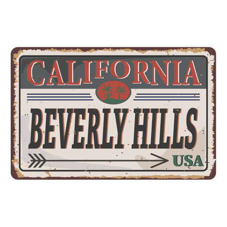 California Beverly Hills vintage rusty metal sign on a white background, vector illustration Imagens