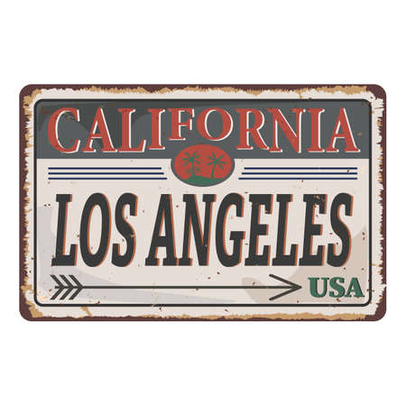 California Los Angeles Vintage tin sign with Retro souvenir or postcard template on rust background. Vintage old paper