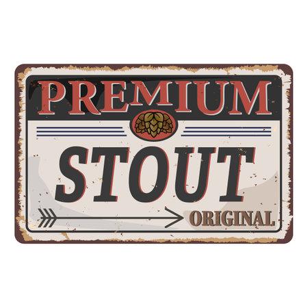 Stout beer label. Handmade vector calligraphy rusty vintage metal sign logo