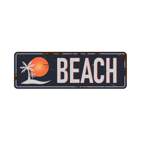 Beach bar vintage rusty metal sign on a white background, illustration