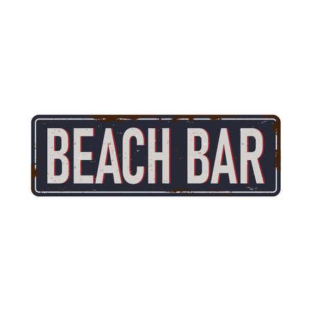 Beach bar vintage rusty metal sign on a white background,  illustration Reklamní fotografie