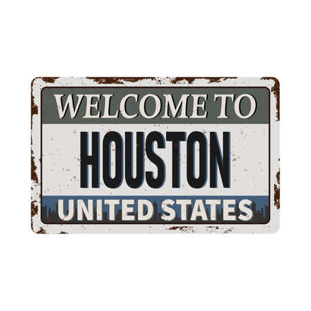 welcome to houston texas - Vector illustration - vintage rusty metal sign Ilustrace