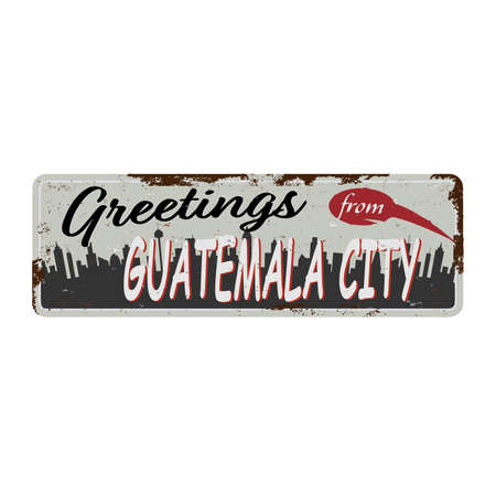 Guatemala City vintage grungy rusty tin metal sign icon plate Ilustrace