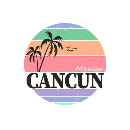 Grunge rubber stamp with text Cancun Mexico, vector illustration. Ilustração