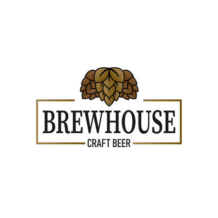 Vector white and brown vintage brewhouse logo