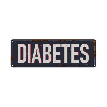 grungy rusted metal sigen Diabetes vector illustration. Mellitus diabetes Abstract medical sign, health care banner Ilustração