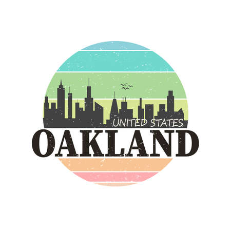 Graphic design oakland city for t-shirts on a white background vector.