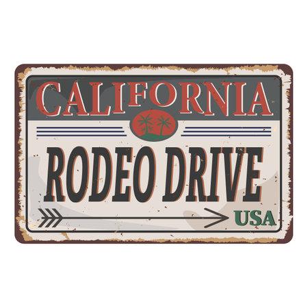 RODEO DRIVE rusty tin metal plate PRINT VECTOR.