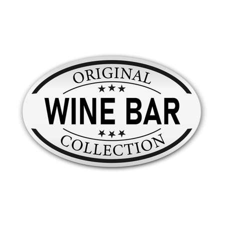 Wine bar logo design paper badge. Typography concept for vineyard and bar. Abstract wine bar sign. Vector template Ilustração