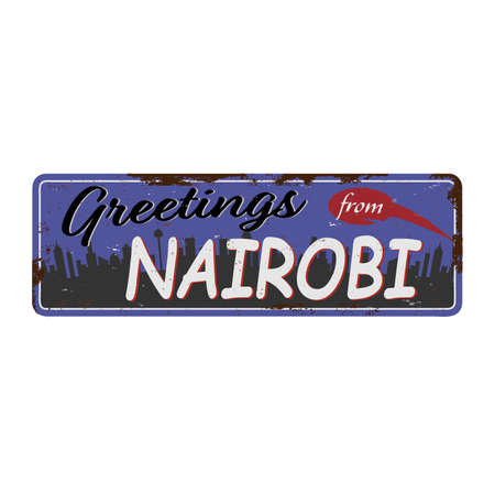 Greetings from Nairobi vintage rusted tin metal label. Ilustrace