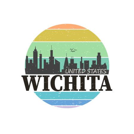 Wichita destination brand logo. vector illustration t-shirt design