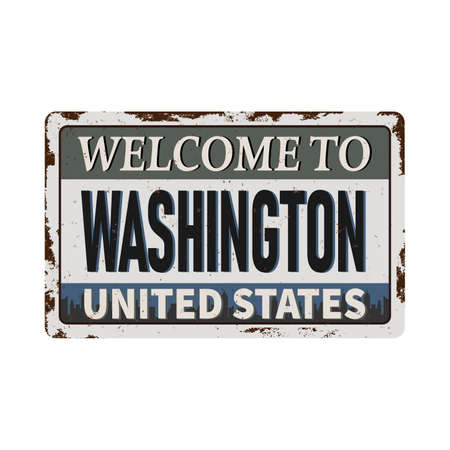 Welcome to Washington vintage rusty metal sign on a white background, vector illustration