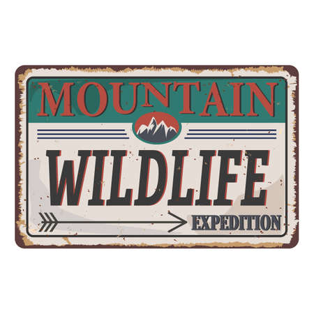 Mountain illustration, outdoor Wildlife adventure rusted metal sign . Vector graphic for t shirt prints and other uses. Çizim