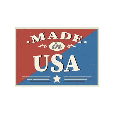 Made in USA retro vintage sign. Vintage poster for 100 percent American product. Vector design concept on scratched background.  イラスト・ベクター素材