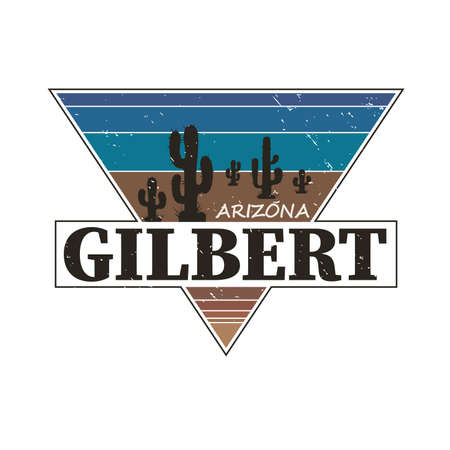 Gilbert Arizona tourism badge or label sticker. Isolated on white. Vacation retail product for print or web.