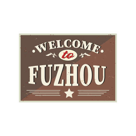 Welcome to fuzhou - Vintage greeting card on a white Background