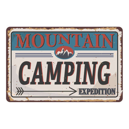 Vintage vector of mountain camping wilderness and nature exploration with grunge textures.
