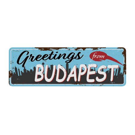 BUDAPEST Hungary skyline silhouette rusted metal vector illustration, black and white design.