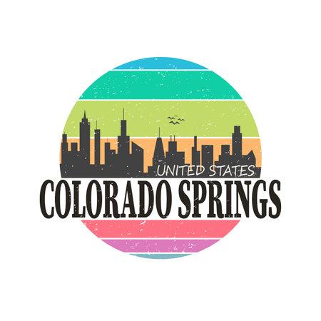 Stamp or label with text Colorado Springs, Colorado inside, vector illustration Ilustração