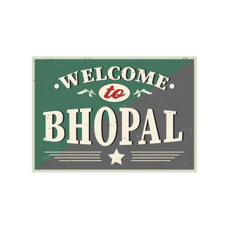 India Bhopal city skyline silhouette vector design logo vintage sign greeting card Ilustração