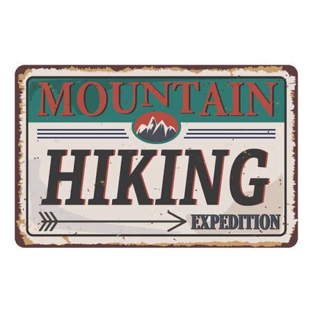 Mountain hiking illustration, outdoor adventure . rusty metal sign Vector graphic for t shirt and other uses. Çizim
