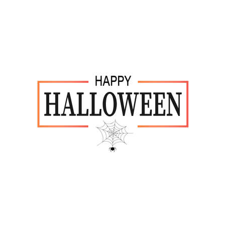 Hand drawn Happy Halloween lettering with a spider web on white background. This illustration can be used as a greeting card, poster or print.