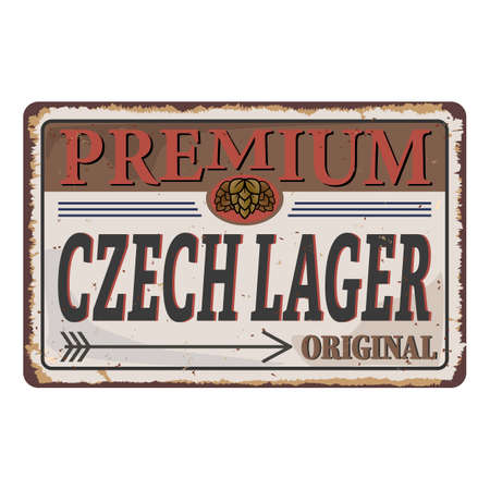 Vector logo for CZECH LAGER Craft Beer, rusty vintage retro metal sign