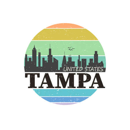 Tampa city travel destination. vector shirt logo