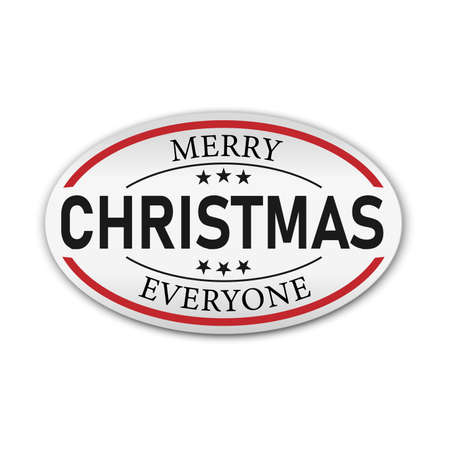 Merry Christmas oval Badge on a white background Ilustração