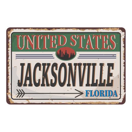 United States Jacksonville vintage rusty metal sign on a white background, vector illustration Ilustração