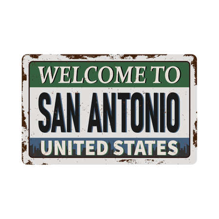 Welcome to San Antonio vintage rusty metal sign on a white background, vector illustration.