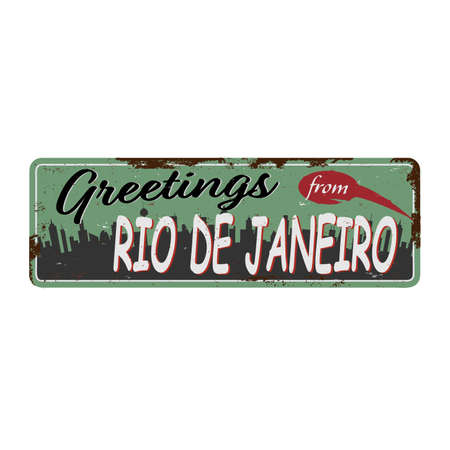 Greetings from Rio de Janeiro Vintage blank rusted metal sign Vector Illustration on white background. Иллюстрация