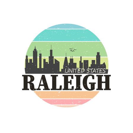 Raleigh North Carolina USA Stamp Logo Icon Symbol Design Skyline City.