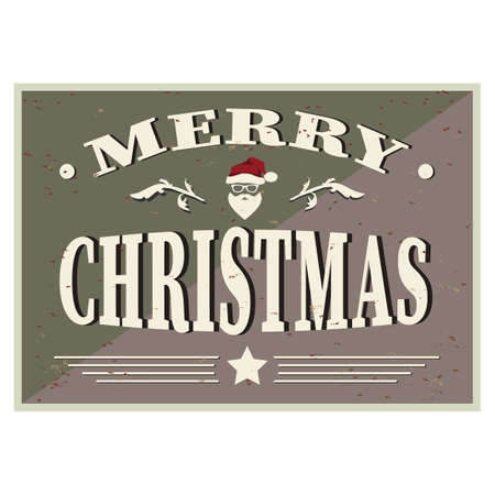 Christmas Typographic Background Merry Christmas Santa greeting card vector sign.