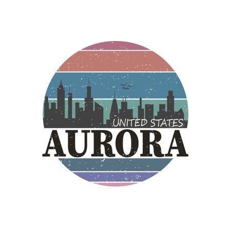 Aurora city travel destination in USA. vector shirt logo.