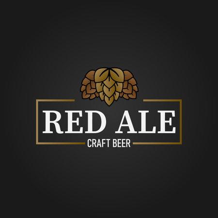 craft beer brewing company vector logo design template concept on black background Ilustração